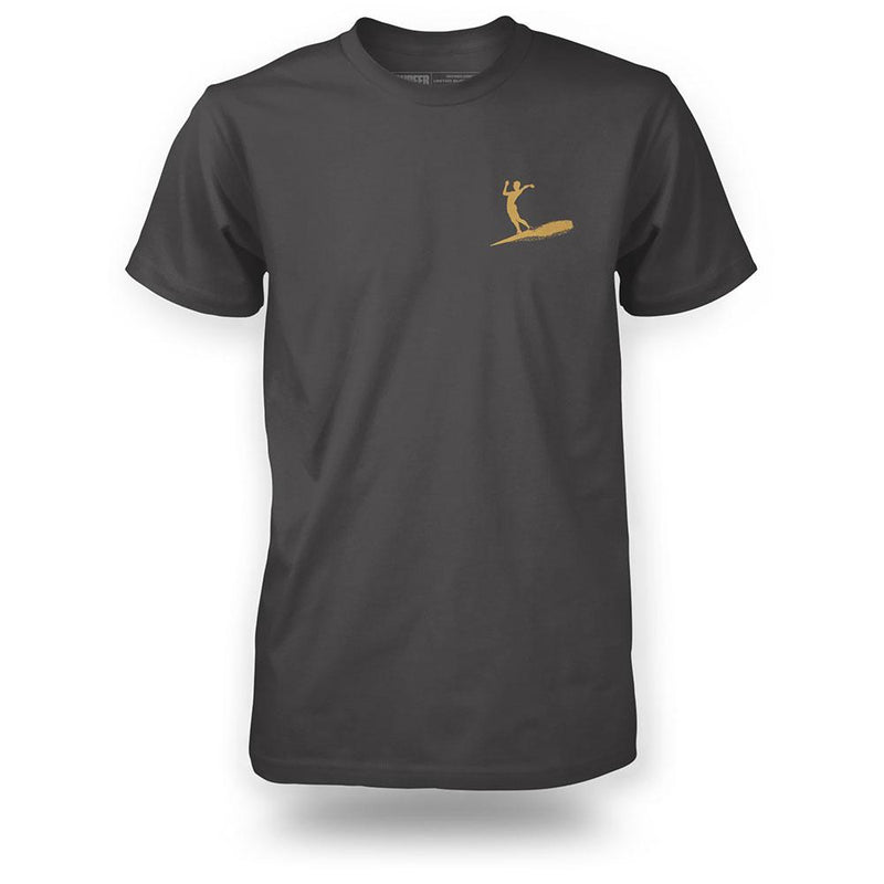 charcoal t-shirt front view surfer silhouette in gold on left chest