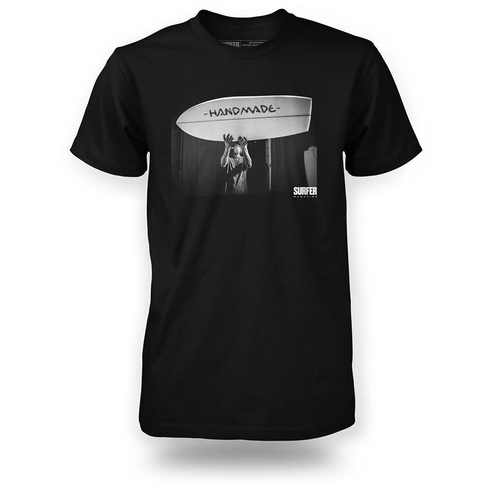 black t-shirt with image of Ryan Burch from Surfer magazine cover