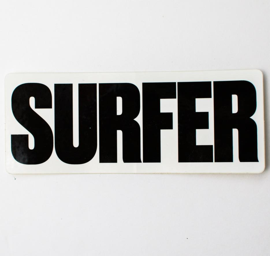 Surfer logo sticker black letters with white background rectangle shape.