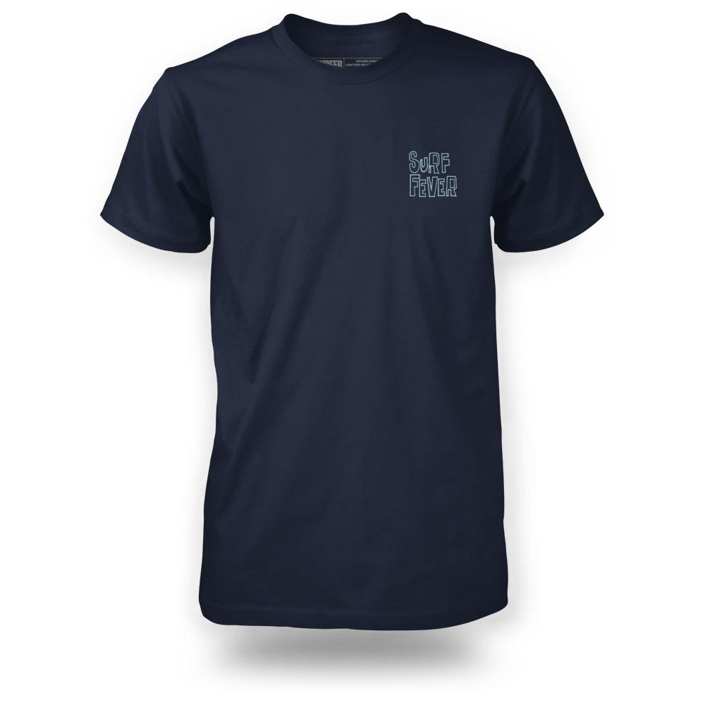 Surfer navy t-shirt front view with Surf Fever on left chest