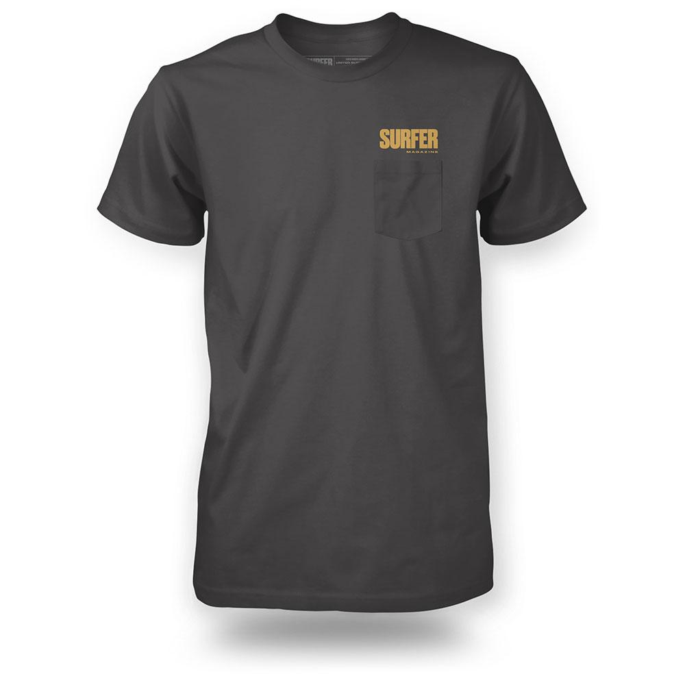 charcoal shirt with gold surfer magazine logo above pocket