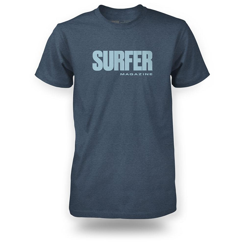 Navy heather surfer tee front view with surfer magazine printed on chest in light blue
