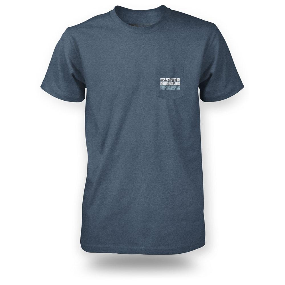 Navy heather surfer pocket tee with tiki logo graphic in light blue and dark blue on pocket