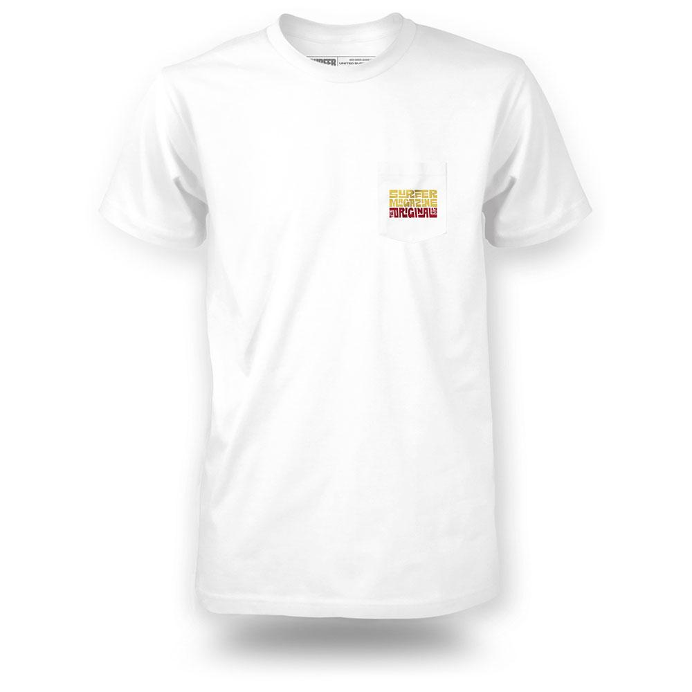 White surfer pocket tee with tiki logo graphic in yellow and red on pocket