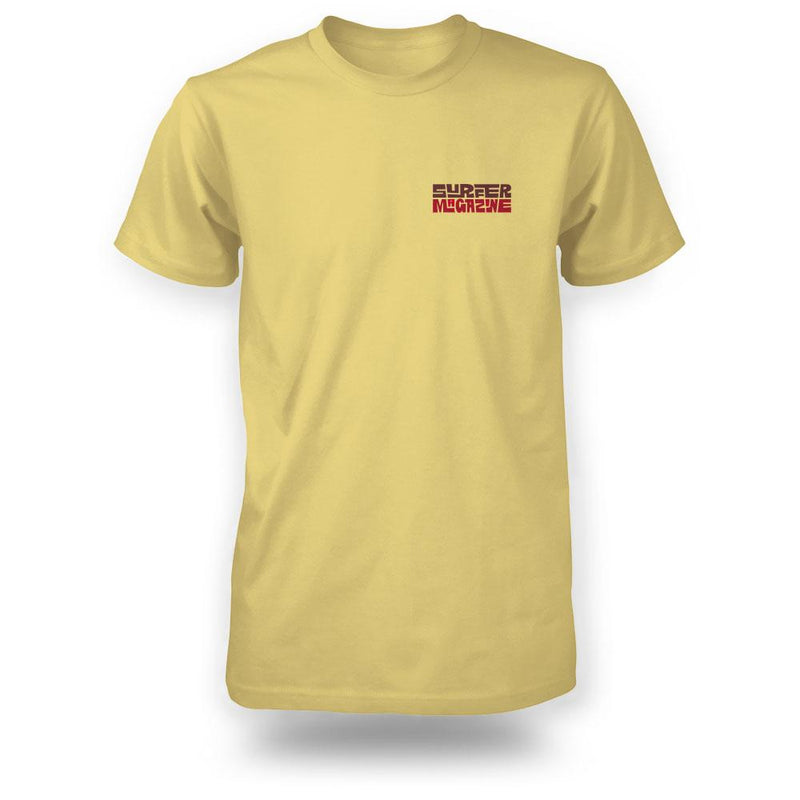 Yellow surfer tee front view with tiki logo graphic in brown and red on left chest