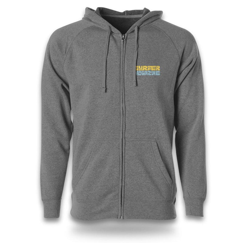 grey zip hoodie front view with surfer tiki graphic printed in yellow and light blue left chest