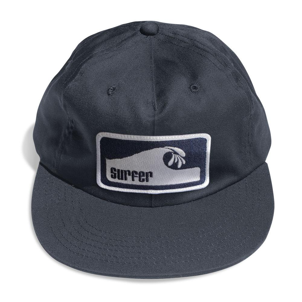 navy six panel hat with white and navy embroidered surfer wave patch
