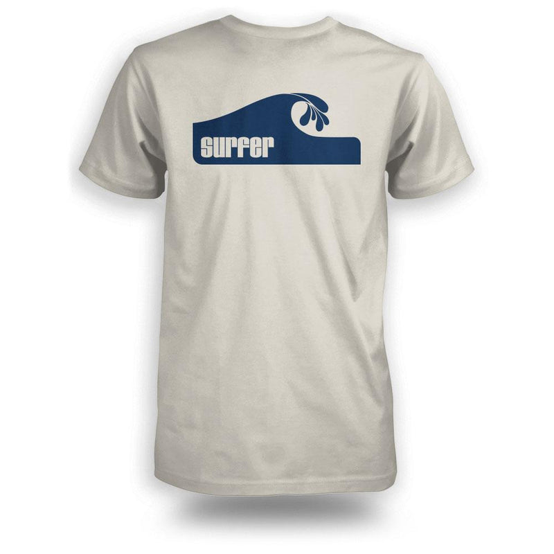 Surfer wave t-shirt bone color with wave graphic on back in navy