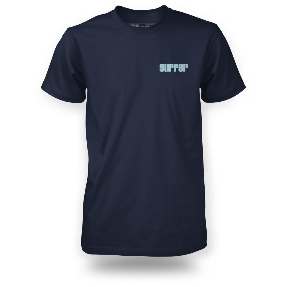 Surfer wave t-shirt navy color with 1970s surfer logo on left chest in light blue