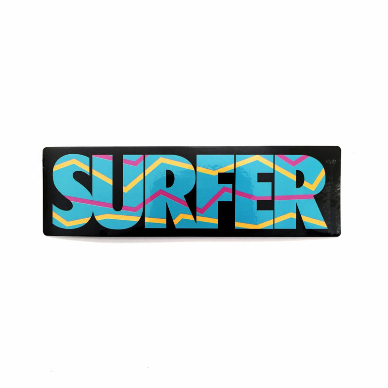 Sticker with aqua surfer logo with yellow and pink accent lines black background