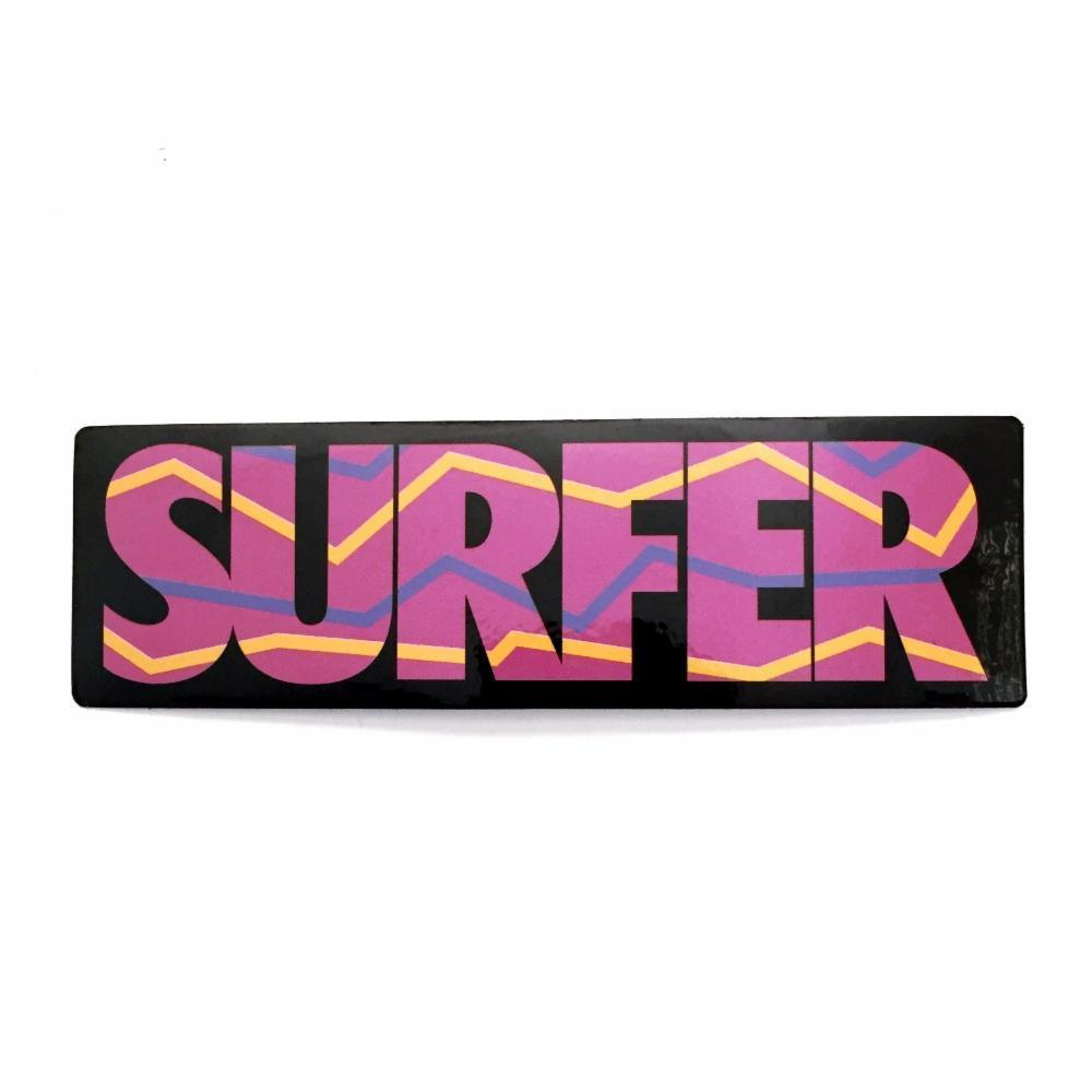 Sticker with pink surfer logo with yellow and purple accent lines black background