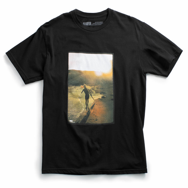 Black t-shirt with hollister ranch surfer photo printer on chest from Surfer magazine
