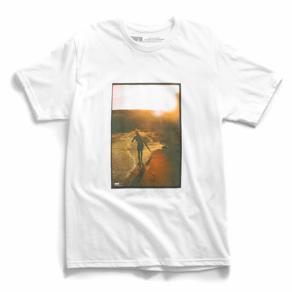 White t-shirt with hollister ranch surfer photo printer on chest from Surfer magazine