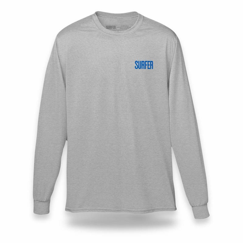 Heather grey long sleeve t-shirt with blue Surfer magazine logo on left chest
