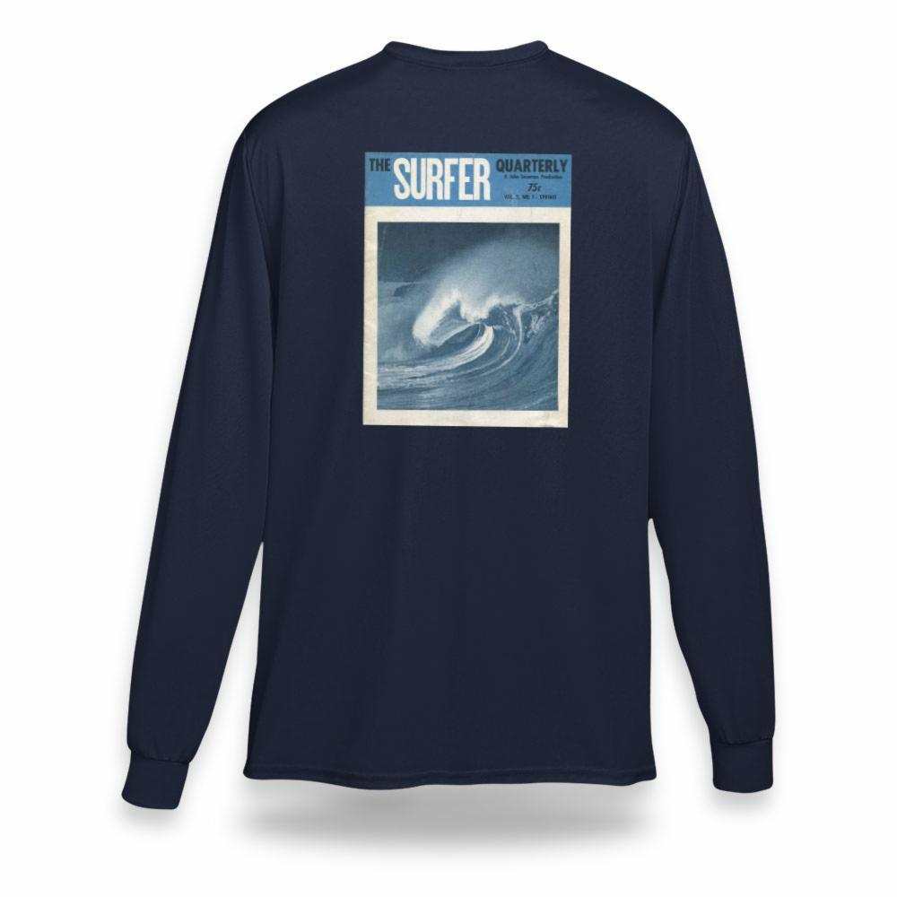 Navy long sleeve t-shirt with print of Surfer magazine Spring 1961 cover on back
