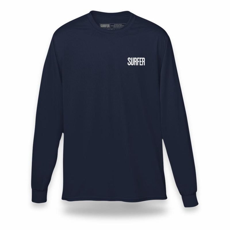 Navy long sleeve t-shirt with white Surfer magazine logo on left chest