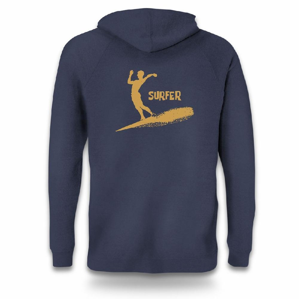 navy zip hoodie back view surfer silhouette in gold