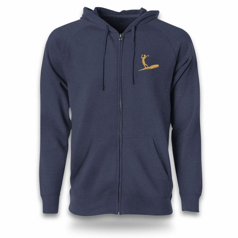 navy zip hoodie front view surfer silhouette in gold on left chest