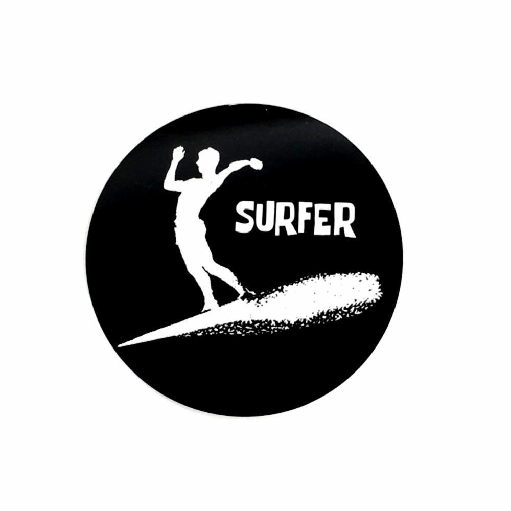 black circle sticker with silhouette of a surfer and original logo