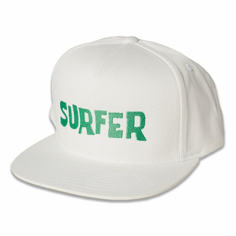 White snap back hat with green Surfer OG logo embroidery