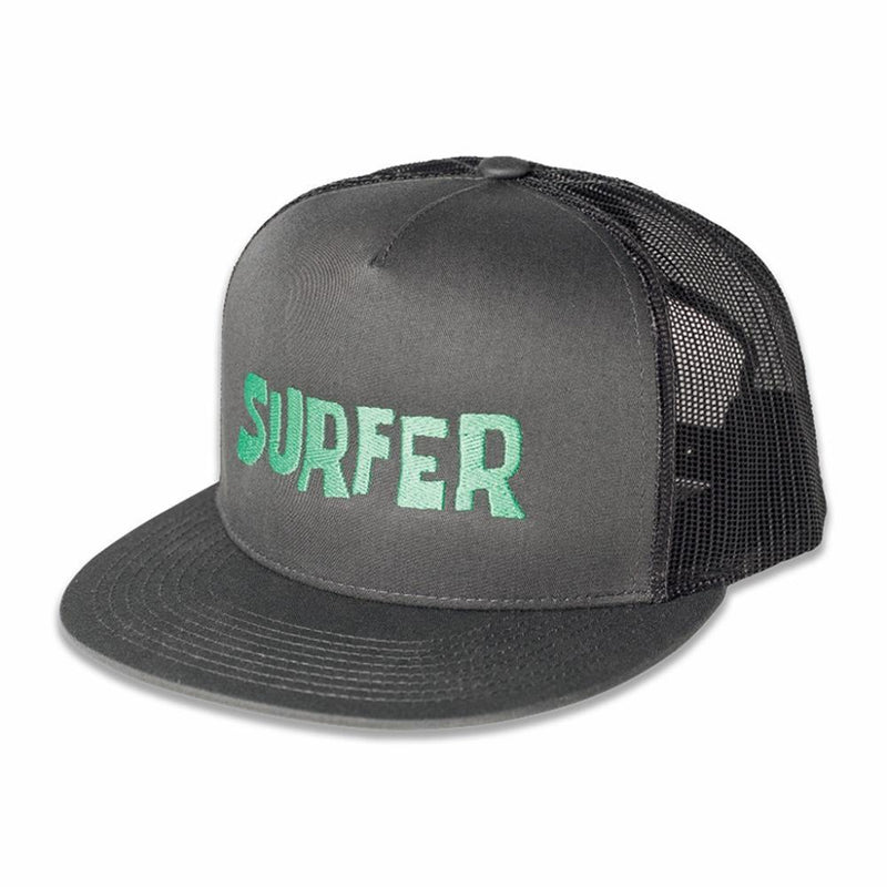 Grey trucker snap back hat with green Surfer OG logo embroidery