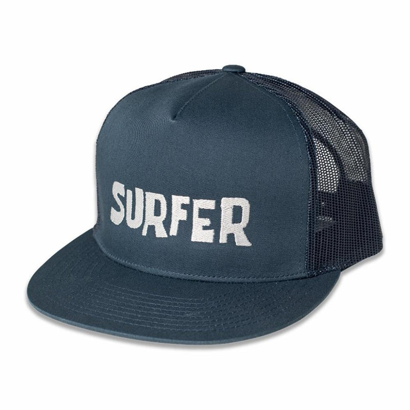 Navy trucker snap back hat with Silver Surfer OG logo embroidery