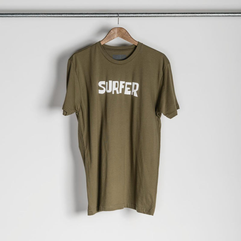 Military green t-shirt with white OG Surfer logo across chest