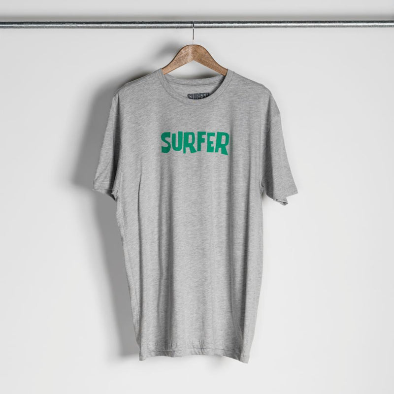 Heather grey t-shirt with green OG Surfer logo across chest