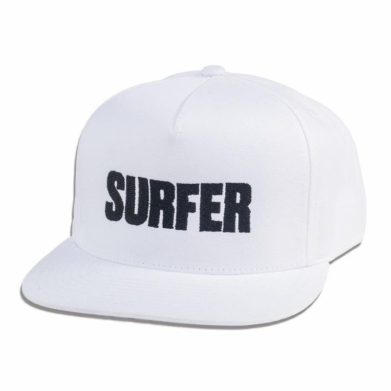 White hat with black Surfer logo embroidery