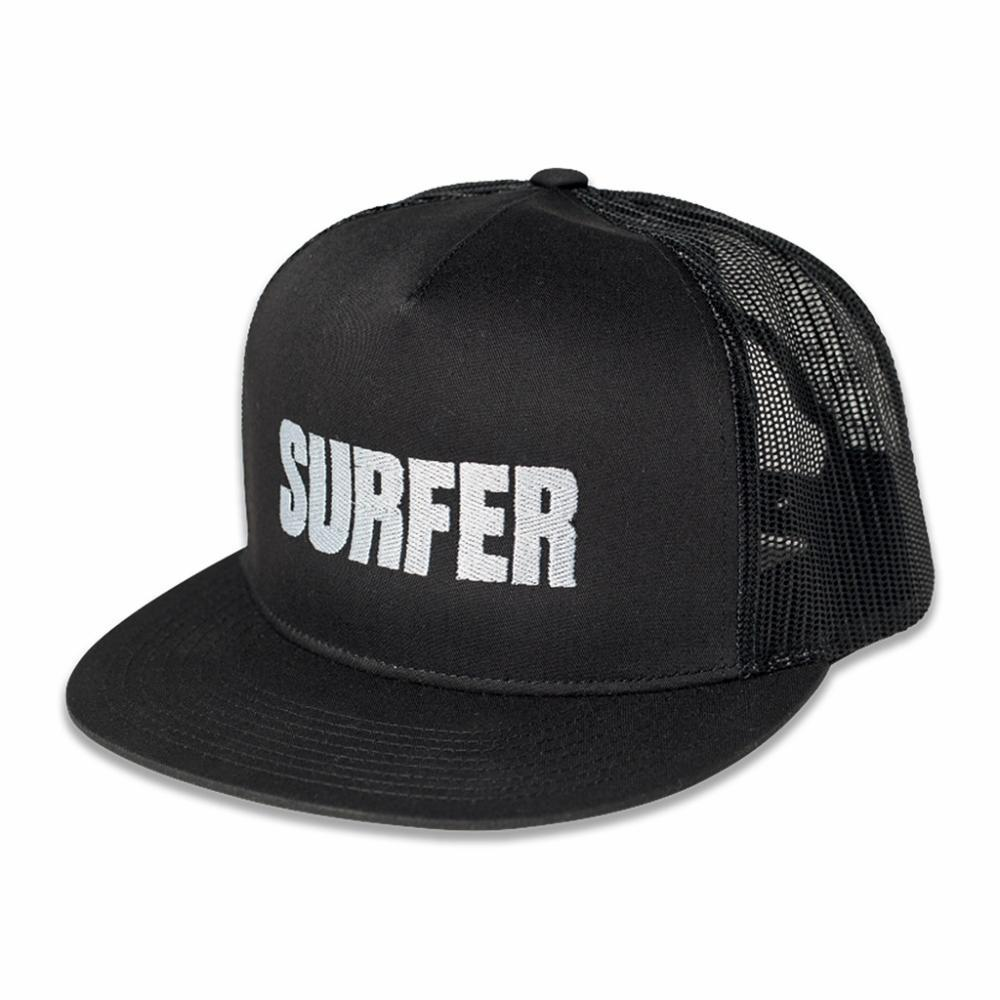 Black trucker hat with silver Surfer logo embroidery