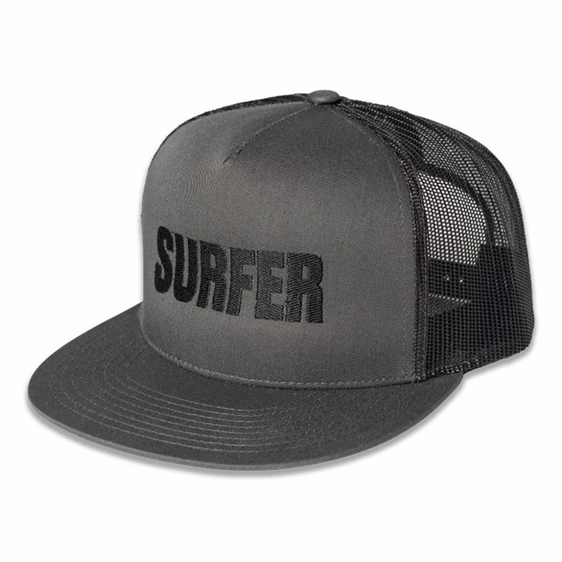 Grey trucker hat with black Surfer logo embroidery