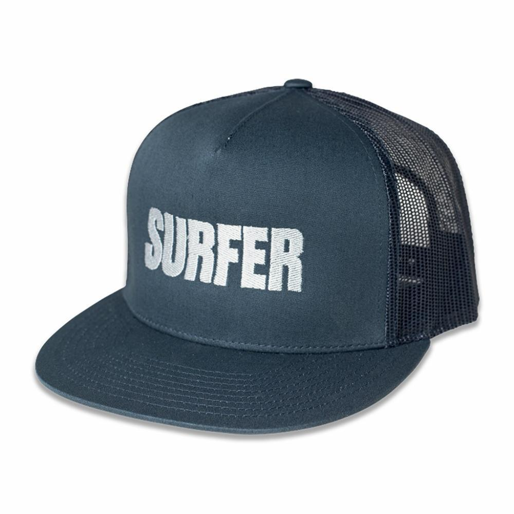 Navy trucker hat with silver Surfer logo embroidery