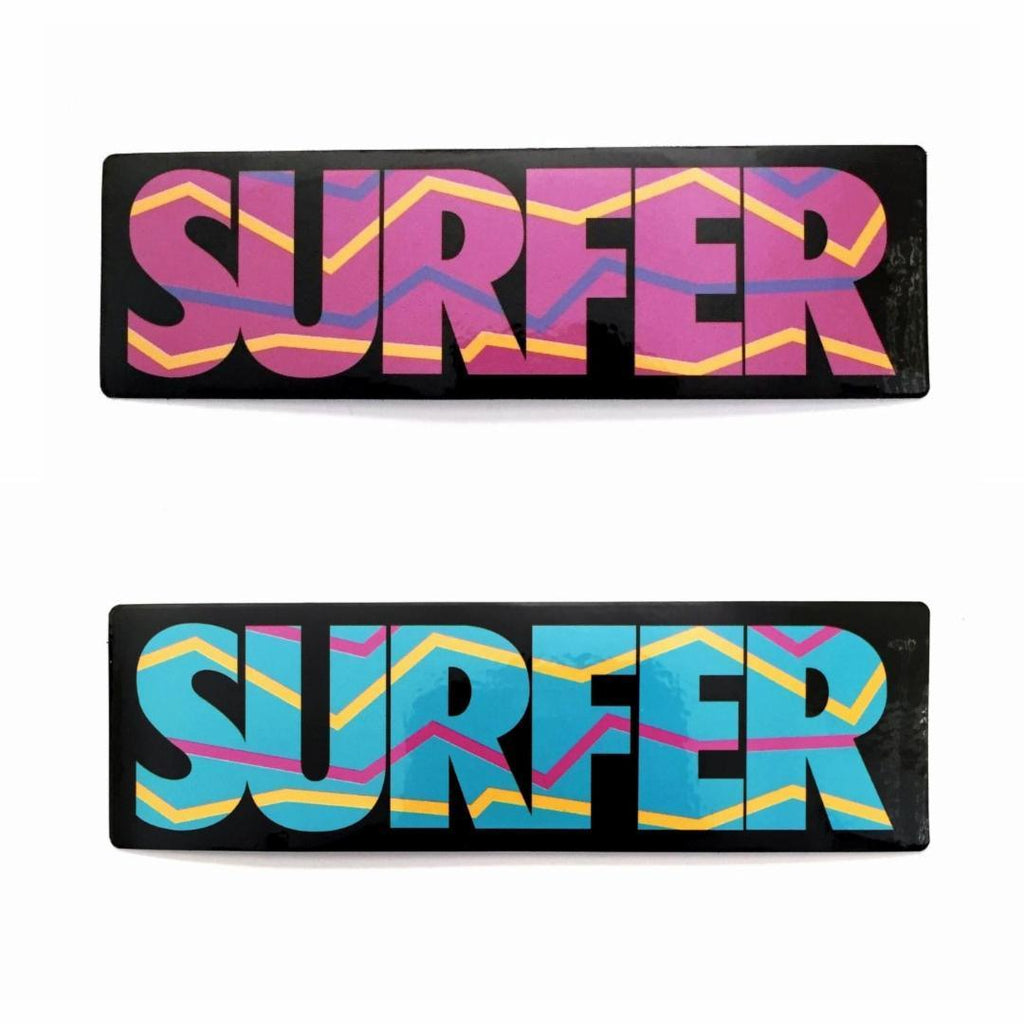 Surfer logo sticker in pink and surfer logo sticker in aqua blue