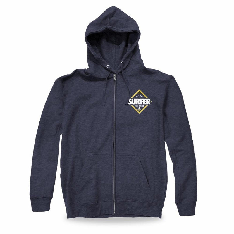 navy heather zip up hoodie with white and gold Surfer Magazine diamond logo graphic