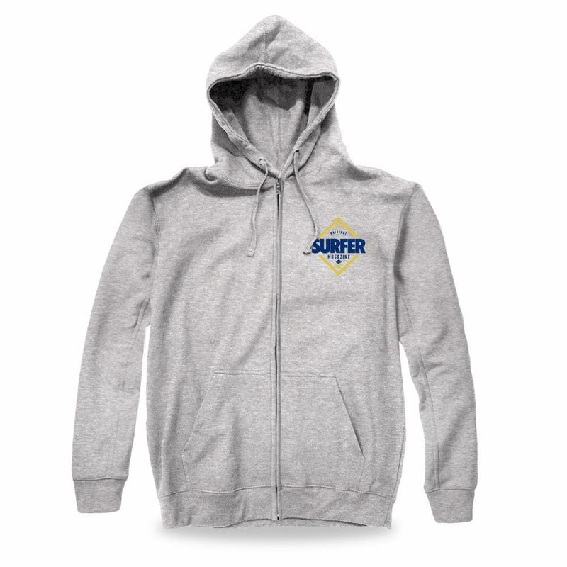 heather grey zip up hoodie with blue and gold Surfer Magazine diamond logo graphic