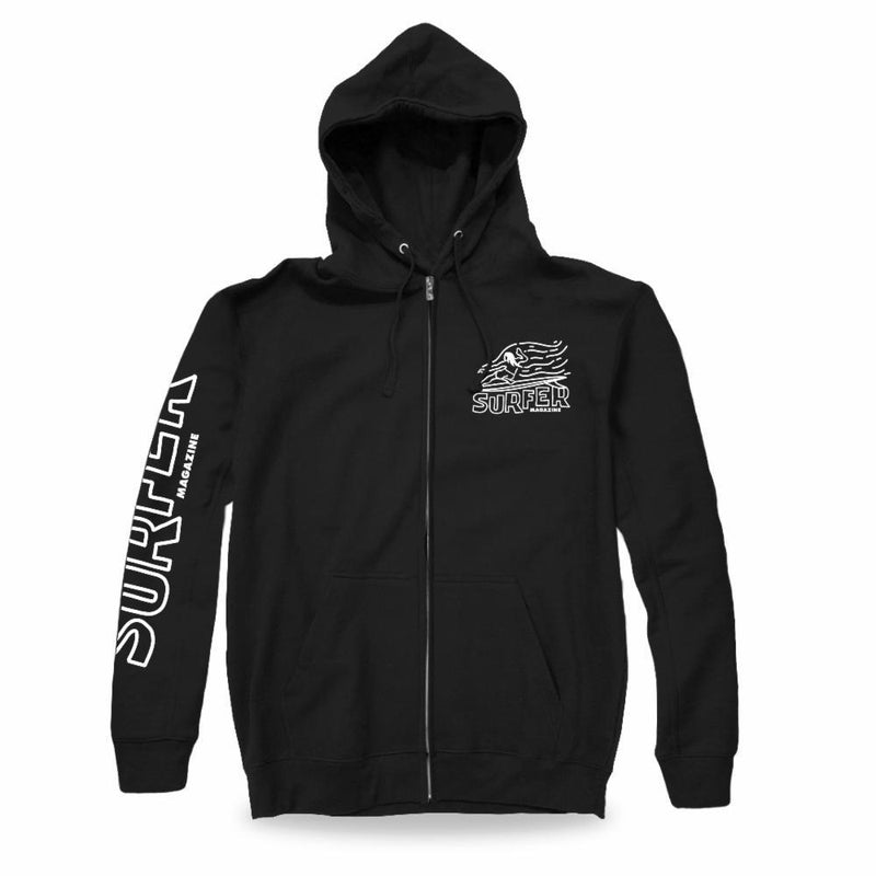 Black zip hoodie white surfer sleeve print and left chest OG Glider graphic