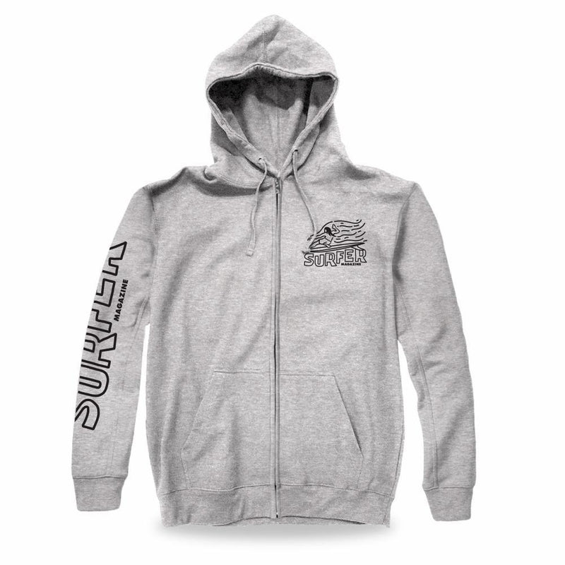 heather grey zip hoodie black surfer sleeve print and left chest OG Glider graphic