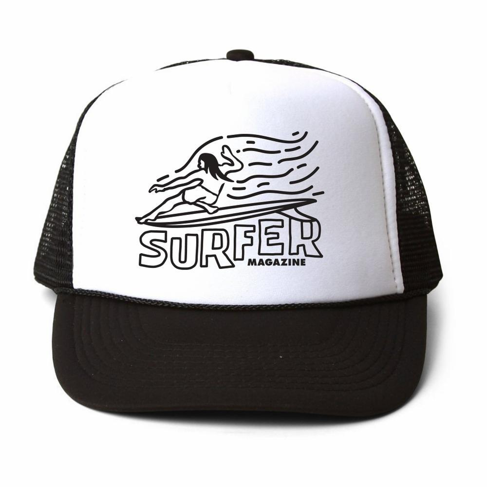 SURFER Magazine Premium Foam Trucker Hat White foam front black OG Glider Graphic black mesh back