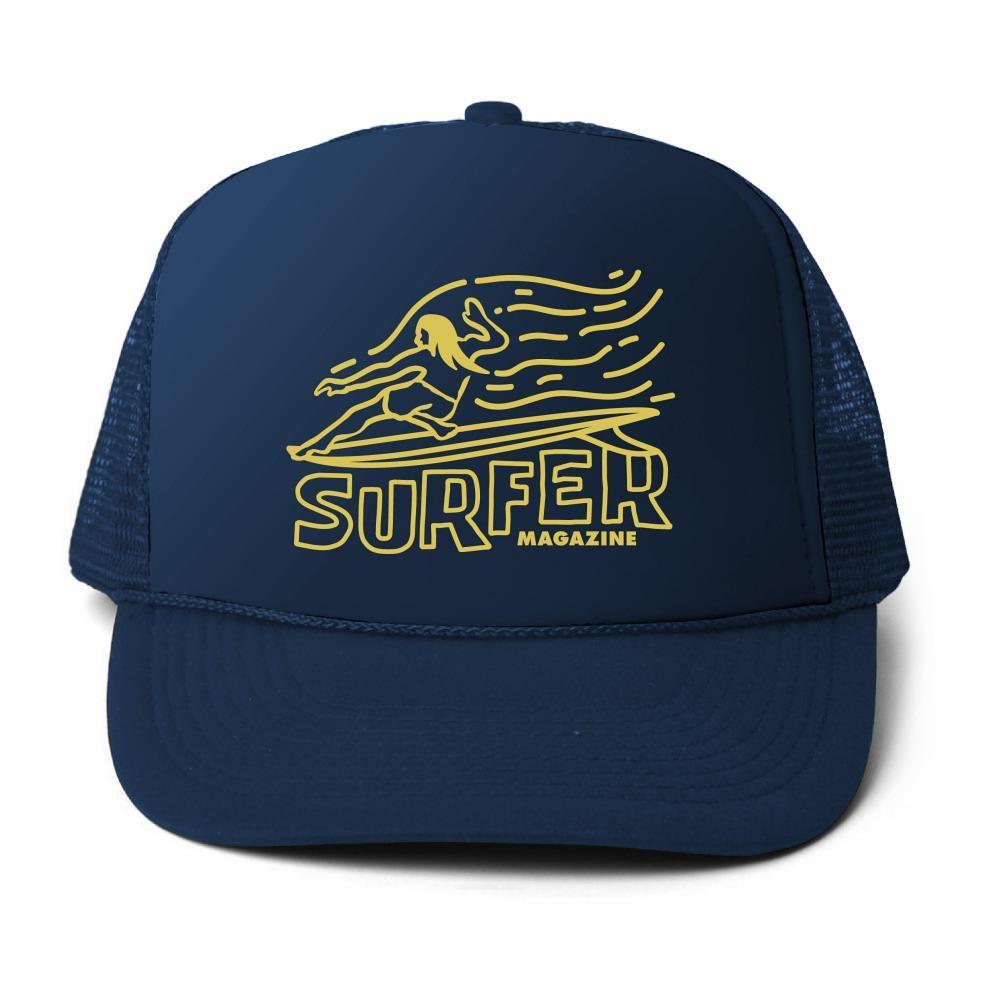 SURFER Magazine Premium Foam Trucker Hat – Navy color with yellow OG Glider Graphic