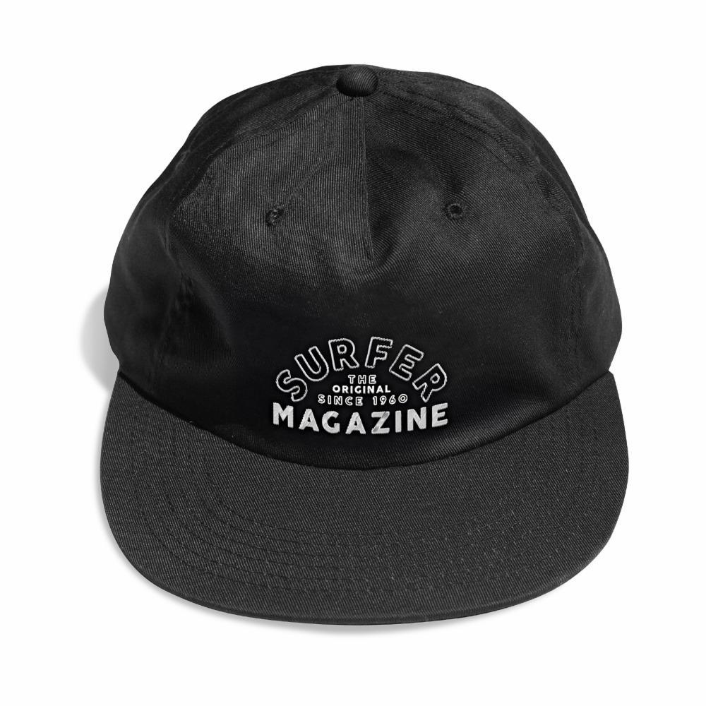 The Classic SURFER black hat with white surfer magazine embroidery