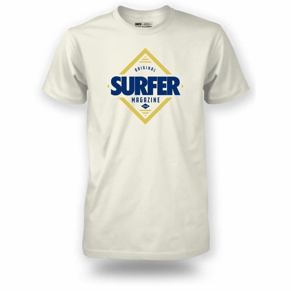 Bone t-shirt with blue and gold Surfer magazine diamond logo graphic on chest