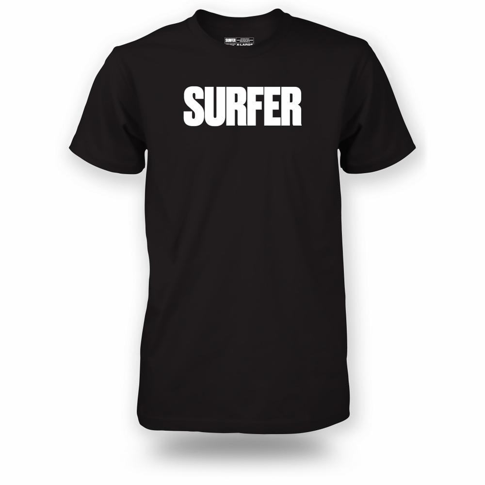 Black t-shirt with white Surfer logo across chest