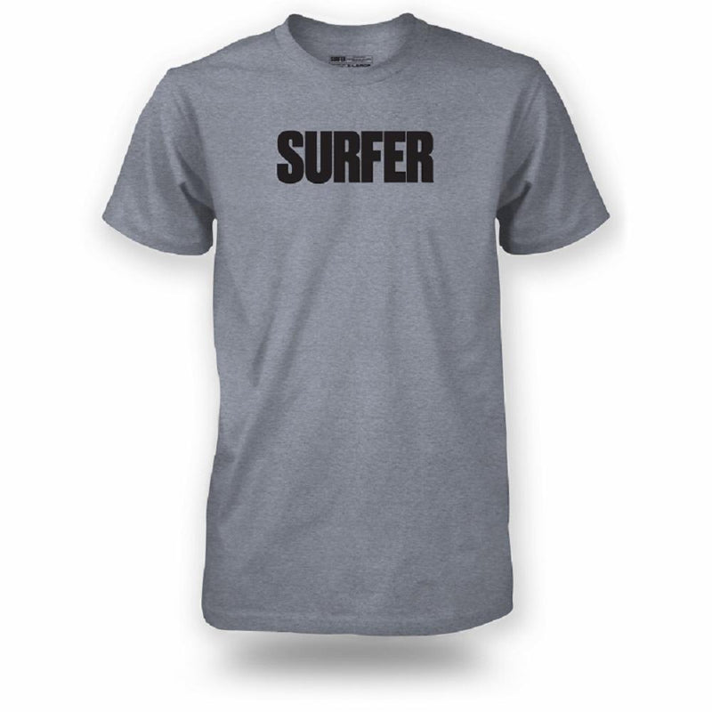 Graphite t-shirt with black Surfer logo across chest