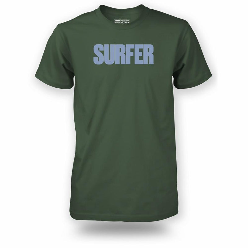 Military green t-shirt with light blue Surfer logo across chest