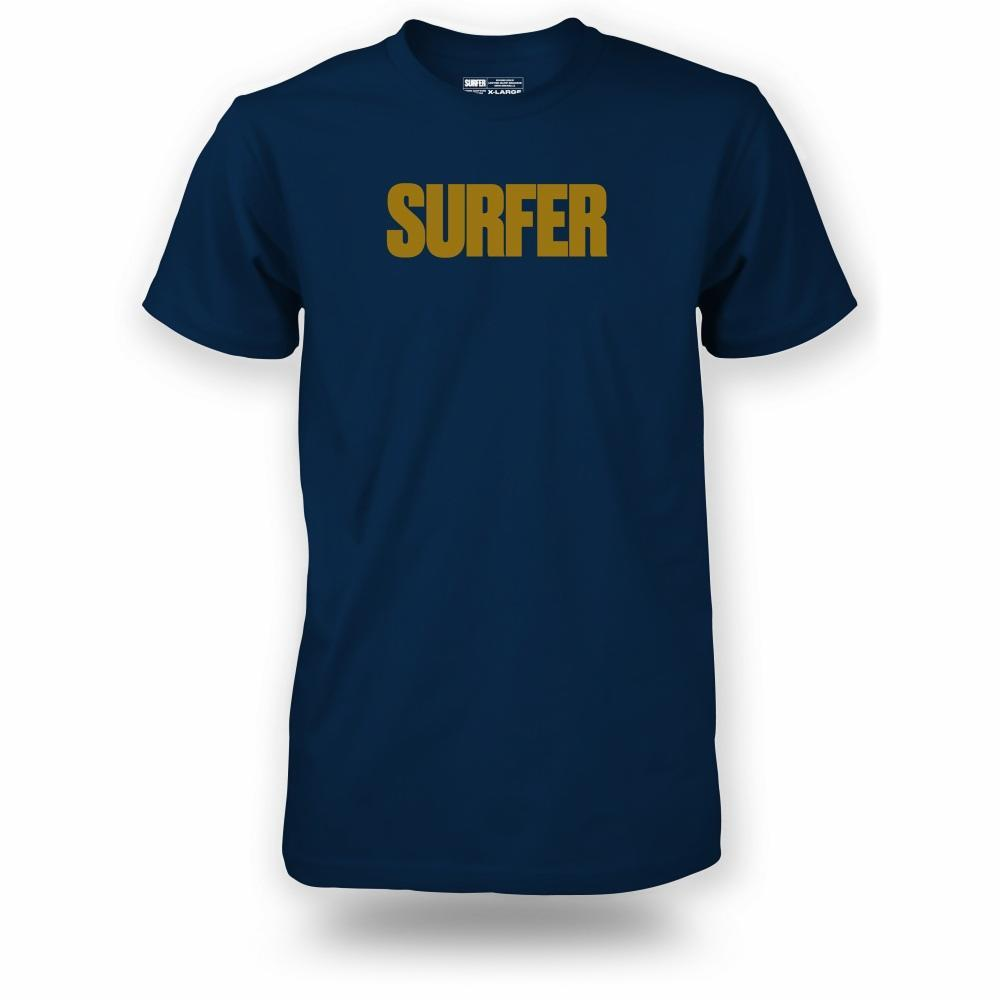 Navy t-shirt with gold Surfer logo across chest