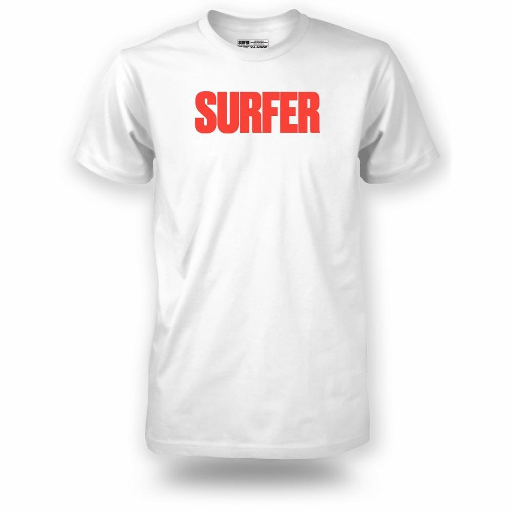 White t-shirt with red Surfer logo across chest