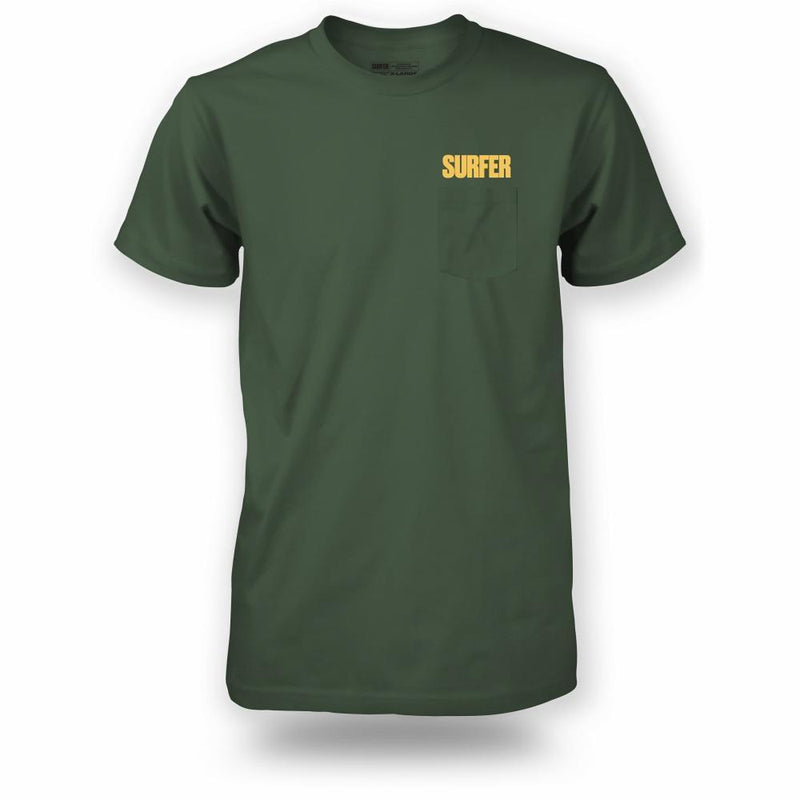 Military pocket t-shirt with gold Surfer logo above pocket