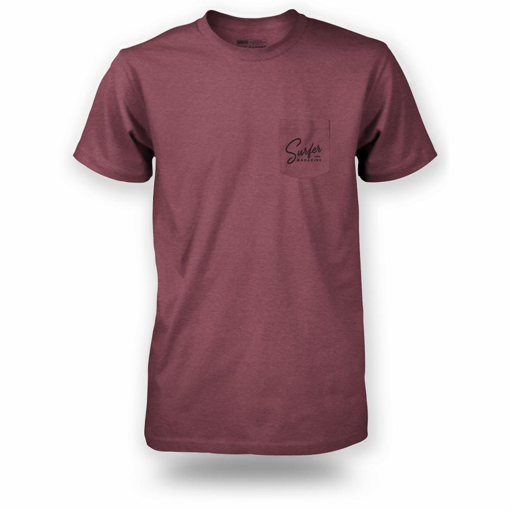 Burgundy heather pocket t-shirt with black Surfer magazine script graphic on left chest pocket
