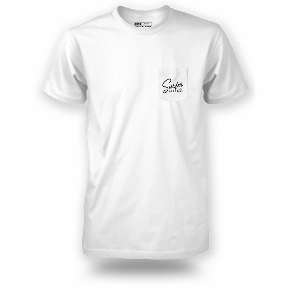 White pocket t-shirt with black Surfer magazine script graphic on left chest pocket