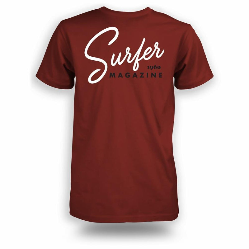 Burgundy t-shirt with white Surfer magazine scripted graphic on back